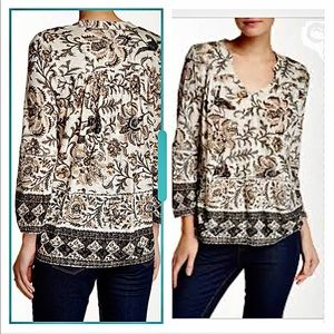 Lucky Brand Bordered Scarf Print Top Size XL